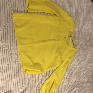 Yellow top bell sleeves